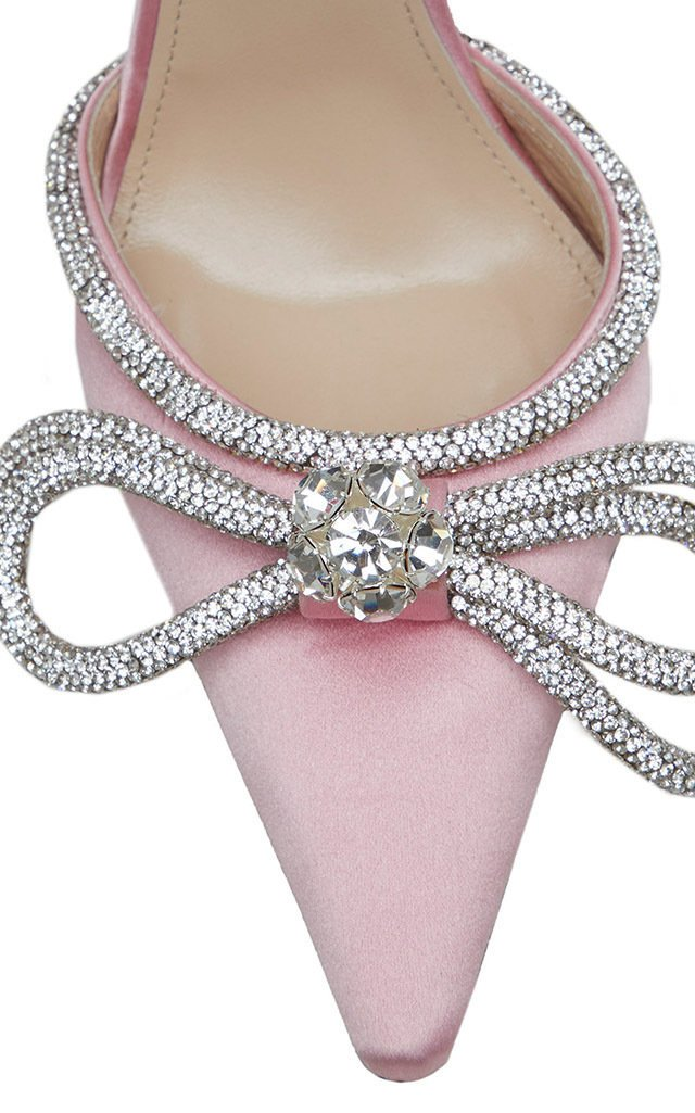 Double Bow Crystal-Embellished Satin Pumps