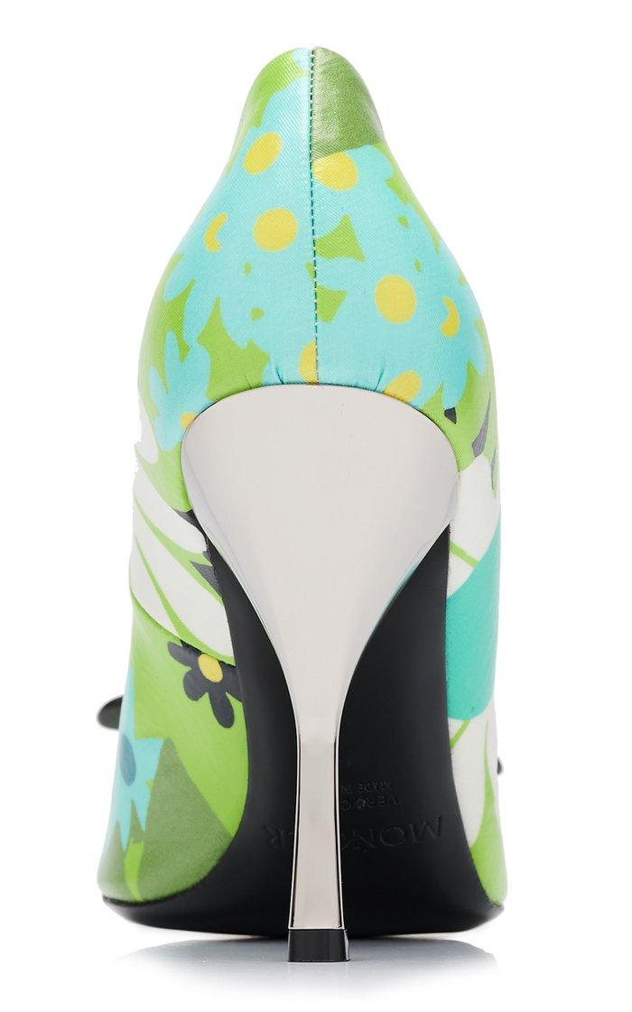 8 Moncler Richard Quinn Elsa Floral Waxed-Cotton Pumps