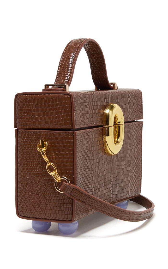 Cinema Box Lizard-Effect Leather Top Handle Bag