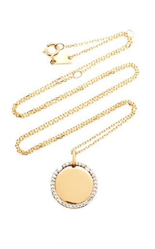 Dog Tag 14K Yellow Gold Diamond Necklace