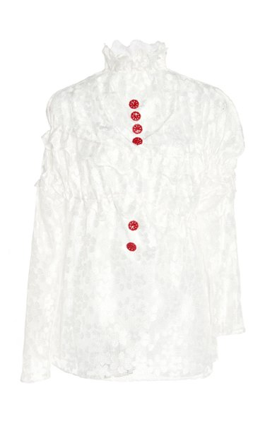 Asymmetric Button-Detailed Ruffled Lace Top