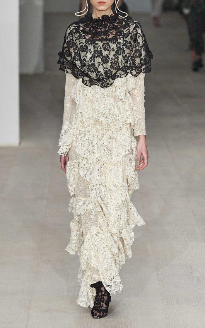 Lisanne Ruffled Cotton Lace Maxi Dress