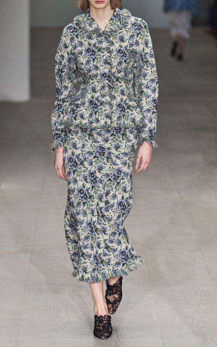Signe Fringed Floral Jacquard Flared Midi Skirt