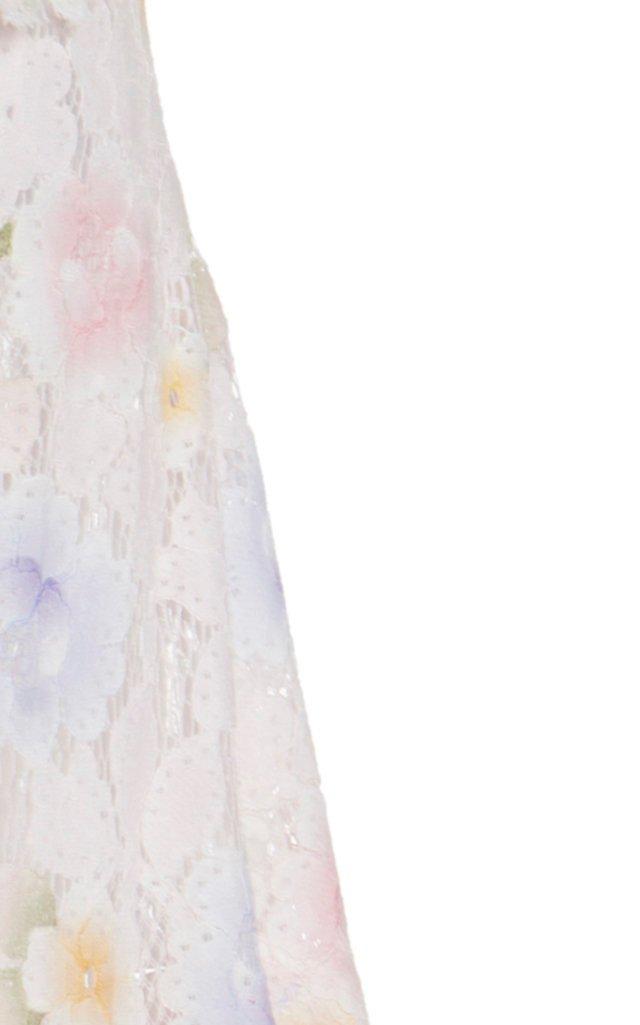 Emilija Raw-Cut Floral Cotton-Blend Lace Midi Skirt