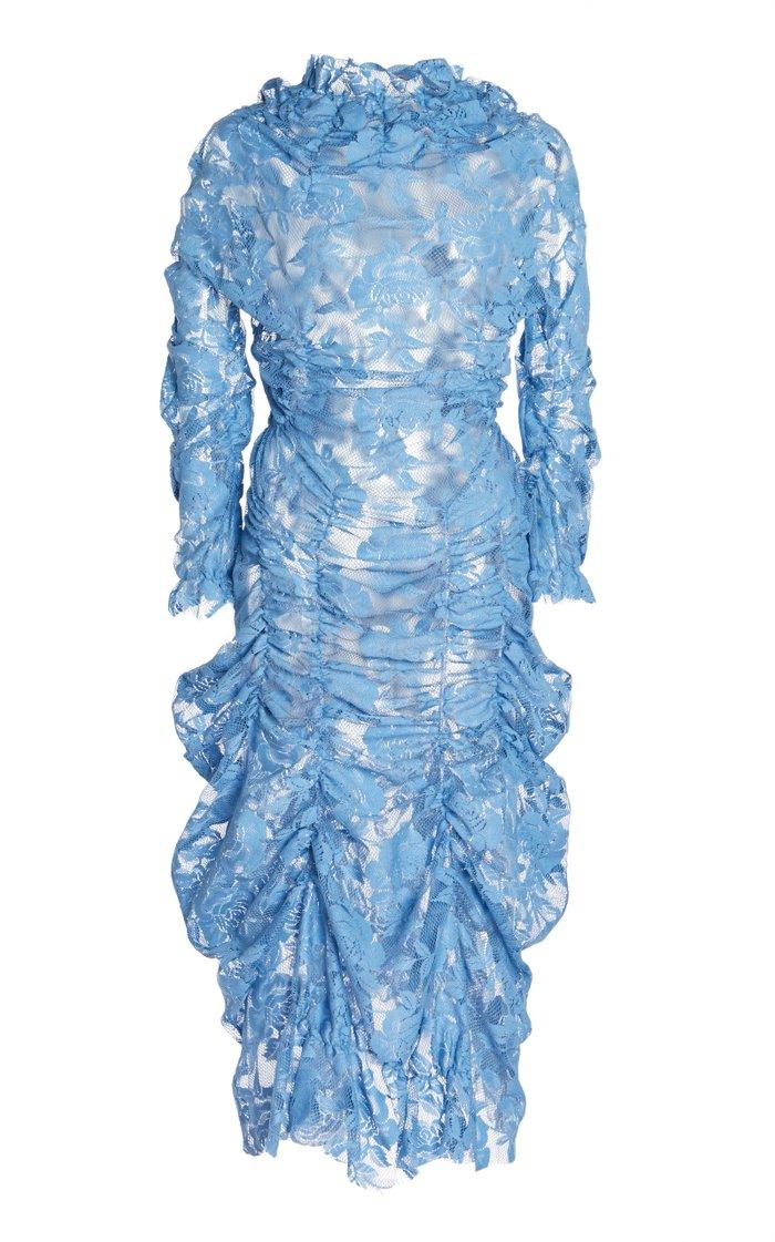 Liselotte Ruched Floral Lace Midi Dress