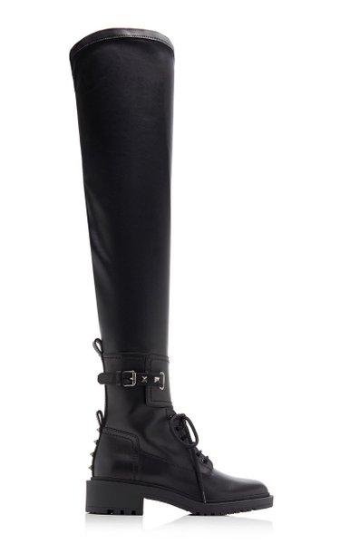 Valentino Garavani Over-The-Knee Leather Combat Boots