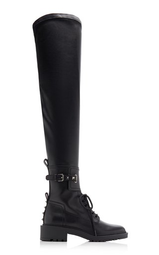 Valentino Garavani Over-The-Knee Leather Combat Boots