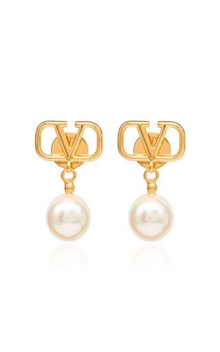 Valentino Garavani VLogo Pearl-Embellished Gold-Plated Earrings