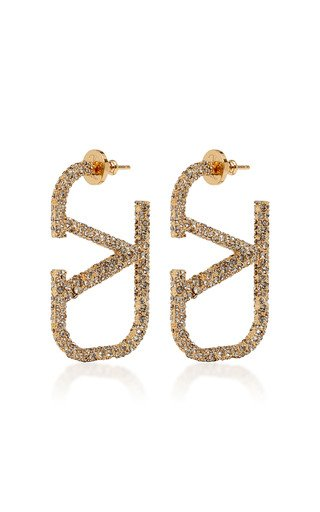 Valentino Garavani VLogo Crystal-Embellished 18K Gold-Plated Earrings