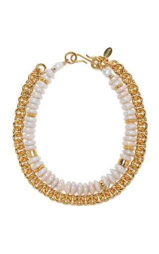 Niki Pearl-Embellished Gold-Plated Necklace
