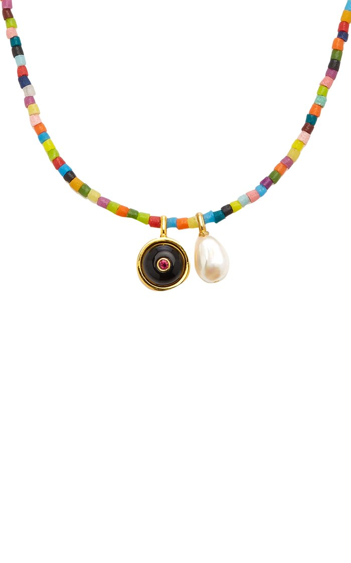 Rainbow Orbit Gold-Plated Brass and Beaded Necklace