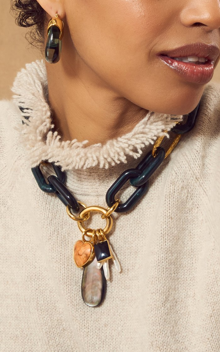 Forest Chunky Gold-Plated Brass Multi-Stone Chain Necklace