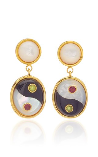 Yin-Yang Gold-Plated Brass and Stone Earrings