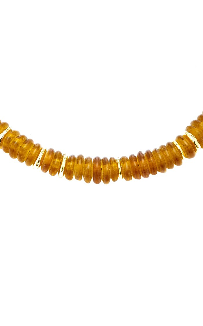 Honey Laguna Gold-Plated Brass, Zinc Beaded Necklace