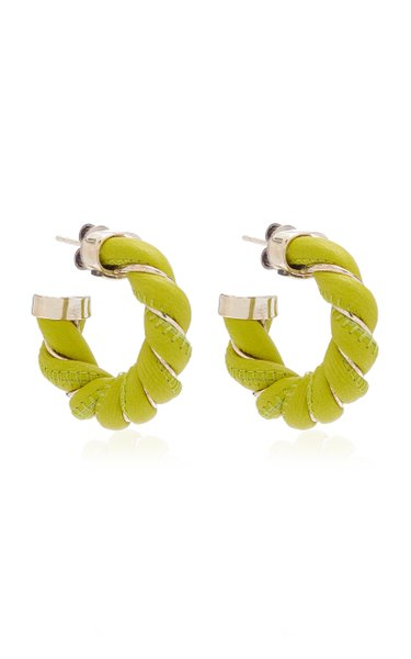 Leather-Trimmed Sterling Silver Earrings