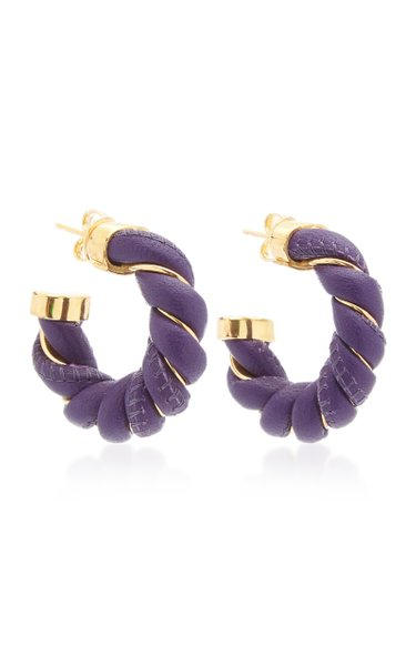 Twisted Leather Gold-Tone Hoop Earrings