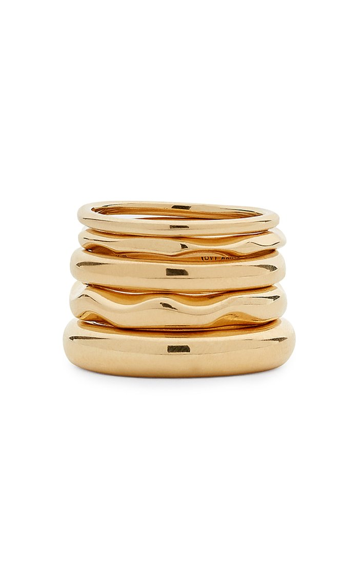 Set-of-Five Gold-Plated Sterling Silver Rings
