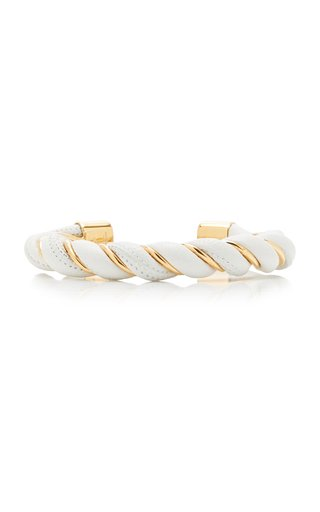 Twisted Leather and Gold Plated Sterling Silver Cuff