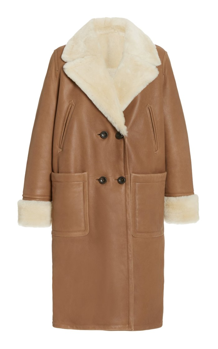 Oversized Shearling Double-Breasted Coat