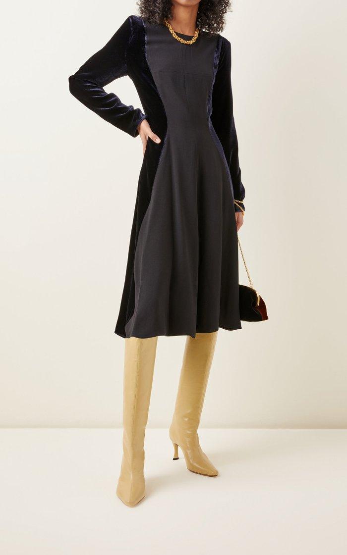 Crepe-Inset Velvet Midi Dress