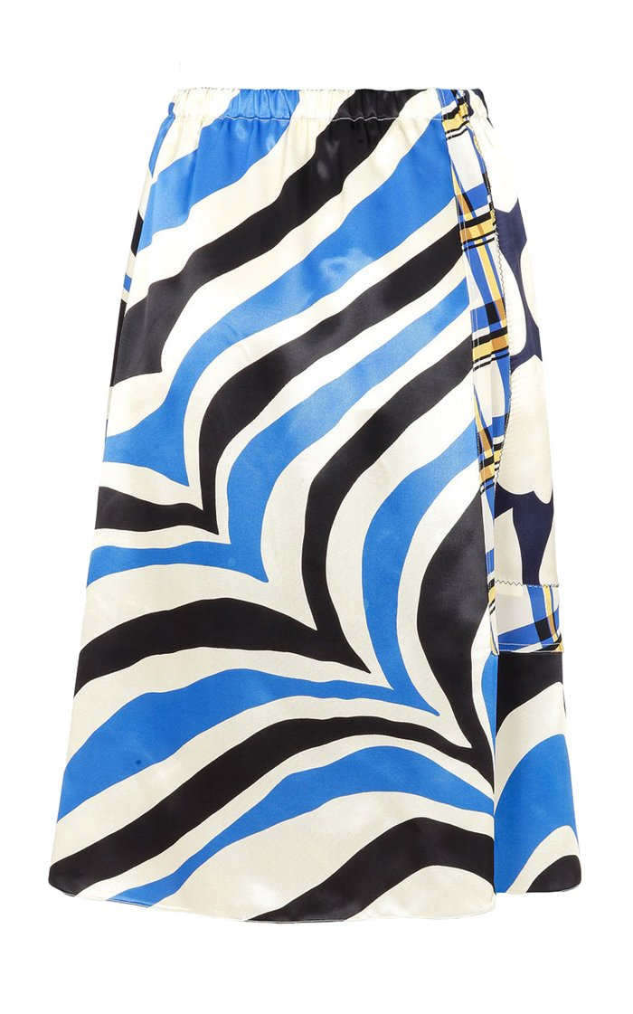 Mixed-Print Satin Midi Skirt
