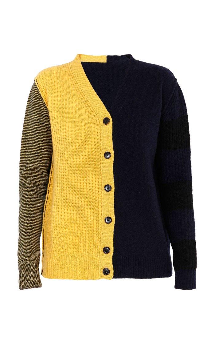 Colorblock Cashmere-Wool Cardigan