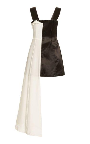 Twill-Inset Satin Mini Dress