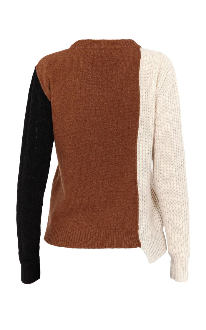 Asymmetric Colorblock Cashmere-Wool Sweater