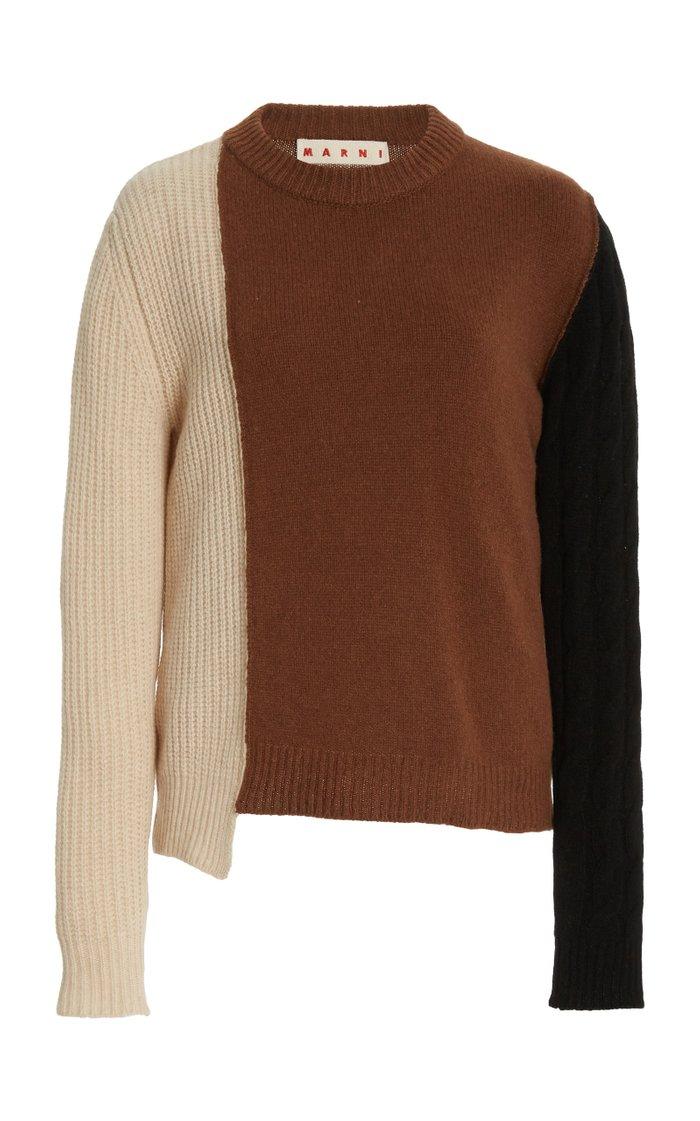 Asymmetric Colorblock Cashmere-Wool Sweater
