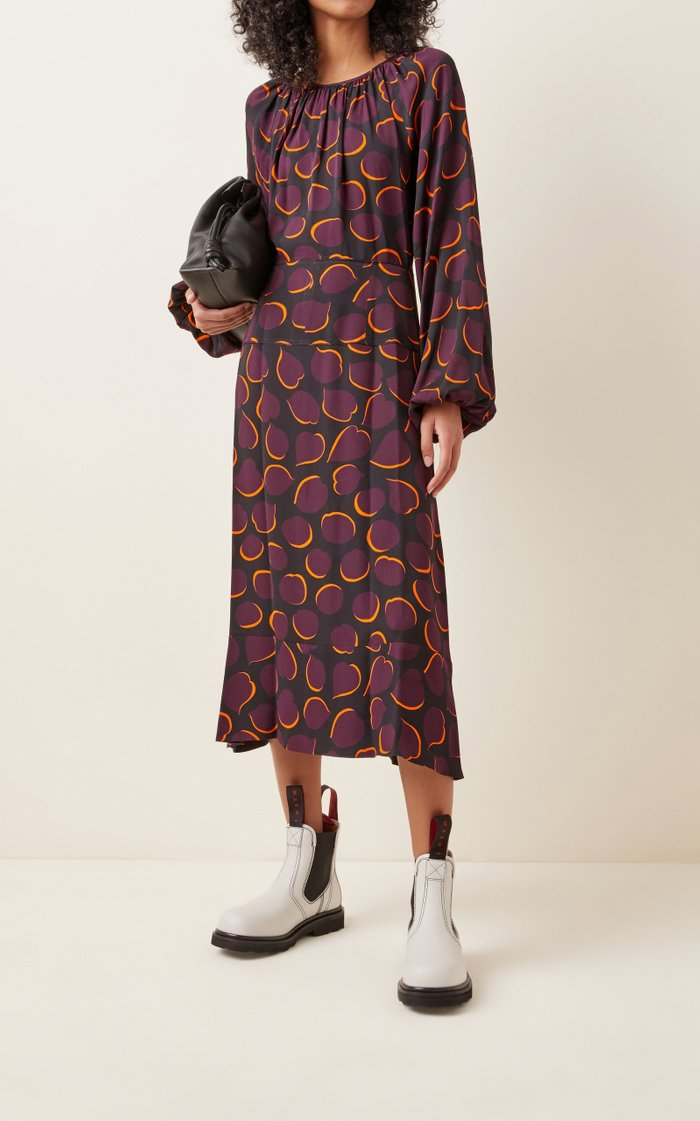 Printed Crepe Midi Dress