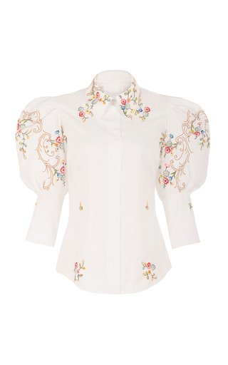 Sacred To The Land Embroidered Cotton Voile Top