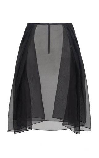 Lost Inside Her Land Pleated Silk Organza Midi Skirt