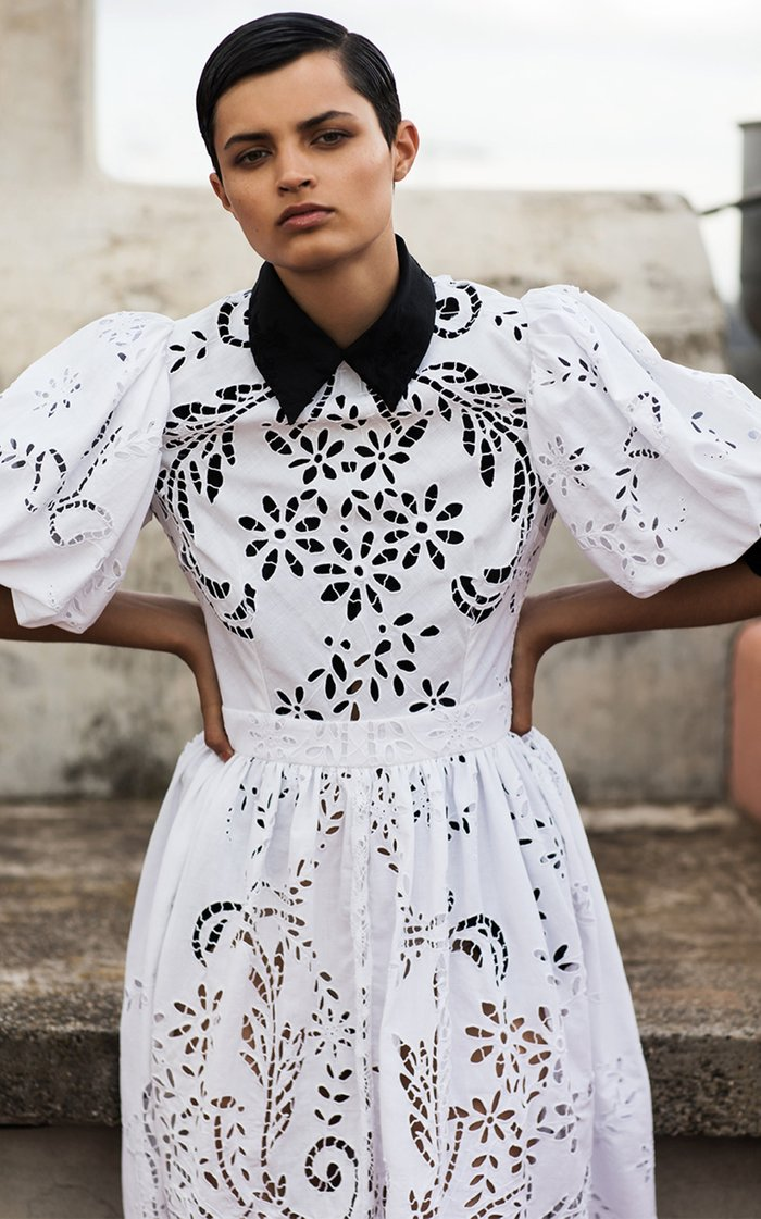 Sacred To The Land Embroidered Cotton-Silk Top