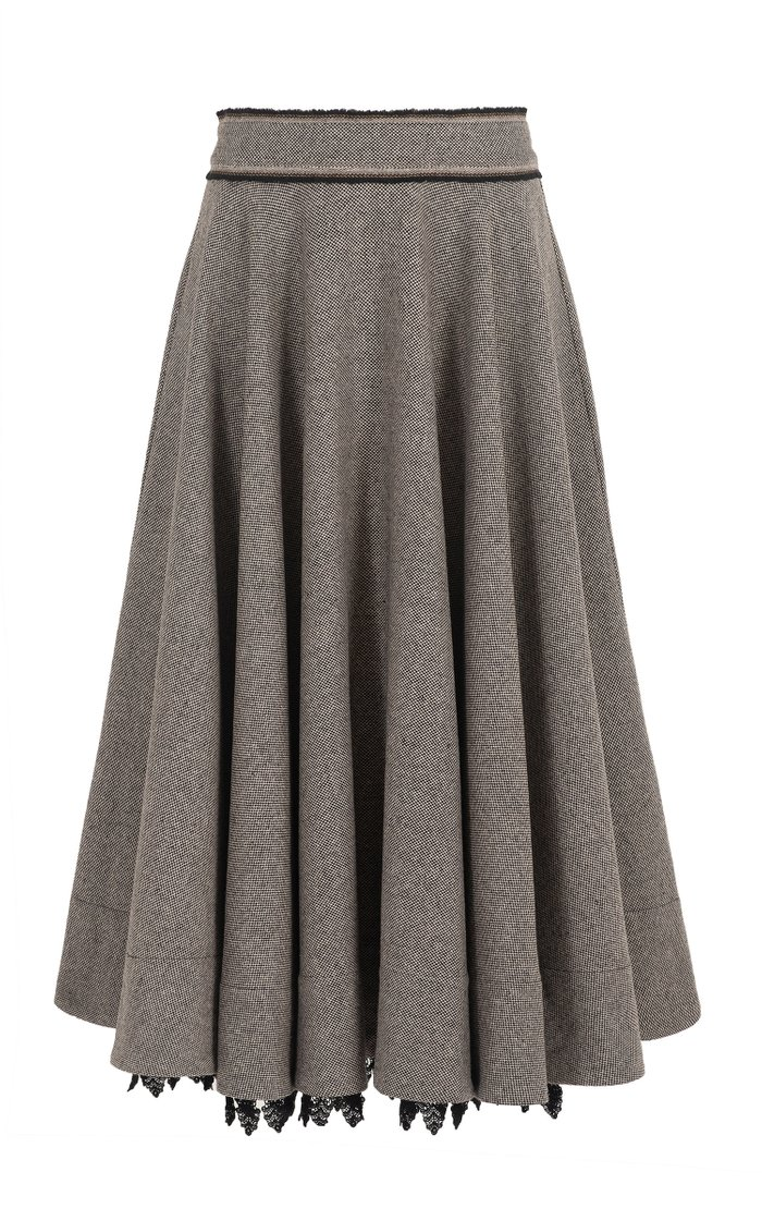The Close Circle Lace-Trimmed Wool-Blend Full Midi Skirt