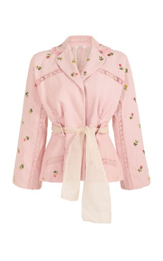 Let Is Rain Down On Me Lace-Trimmed Embroidered Linen Jacket