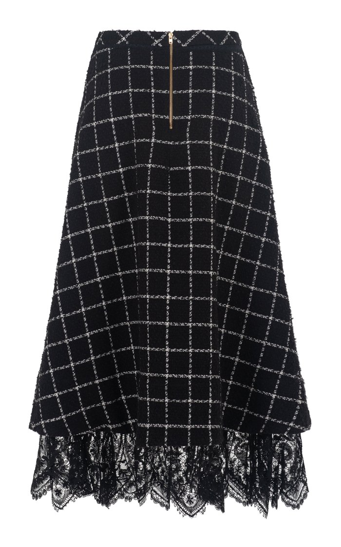 Young Blood Lace-Trimmed Checked Wool-Blend A-Line Midi Skirt