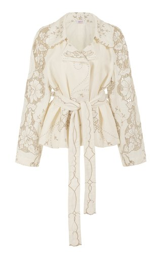 Raging Heart Cutout Linen Cropped Trench Coat