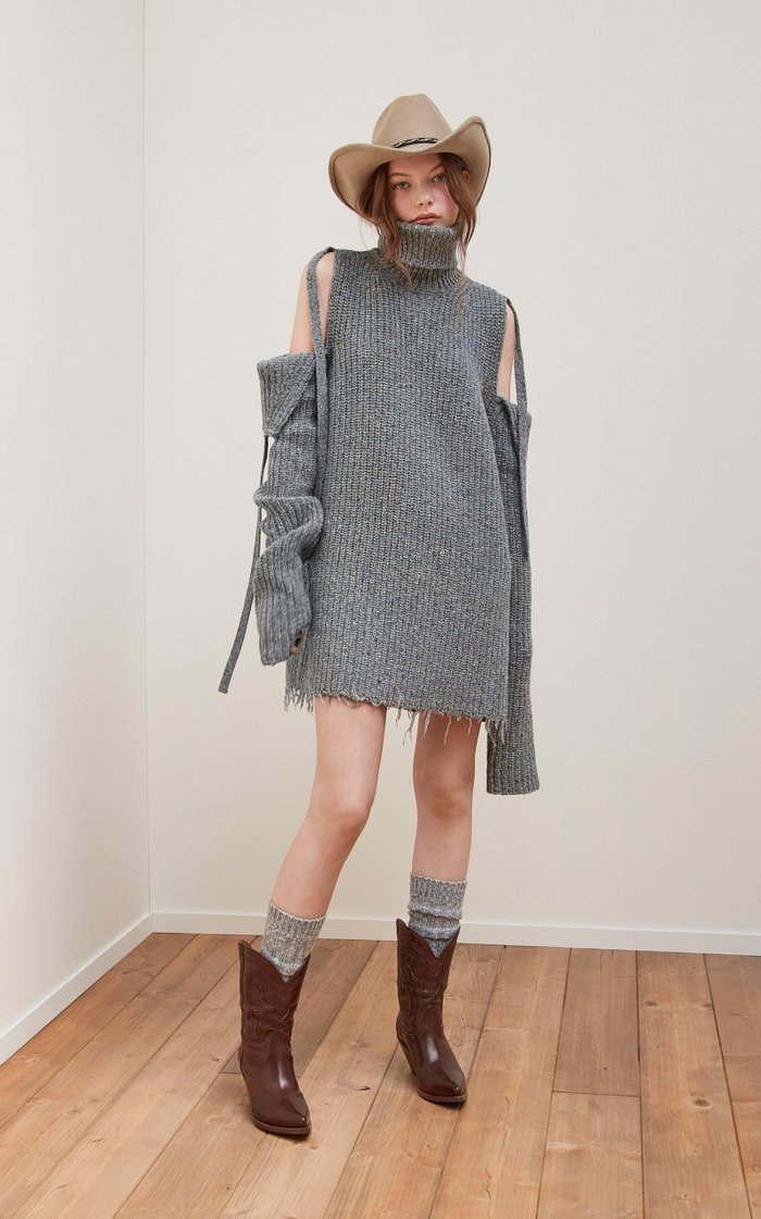 Eco Venus Ribbed-Knit Turtleneck Mini Sweater Dress