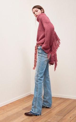Stone Wash Studded Denim Straight-Leg Jeans
