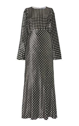 Jane Gingham Silk Vevet Maxi Dress