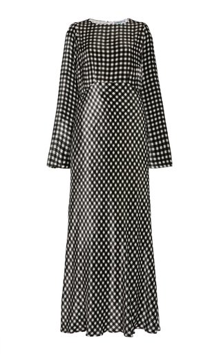 Jane Gingham Silk Vevet Maxi Dress