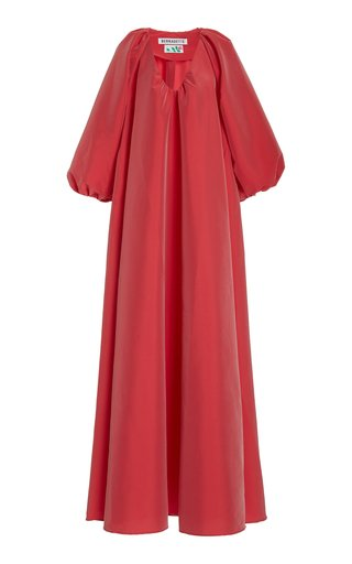George Taffeta Puff-Sleeve Maxi Dress