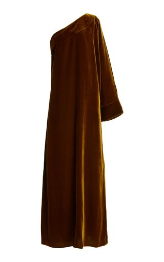 Gigi One-Shoulder Silk Velvet Maxi Dress
