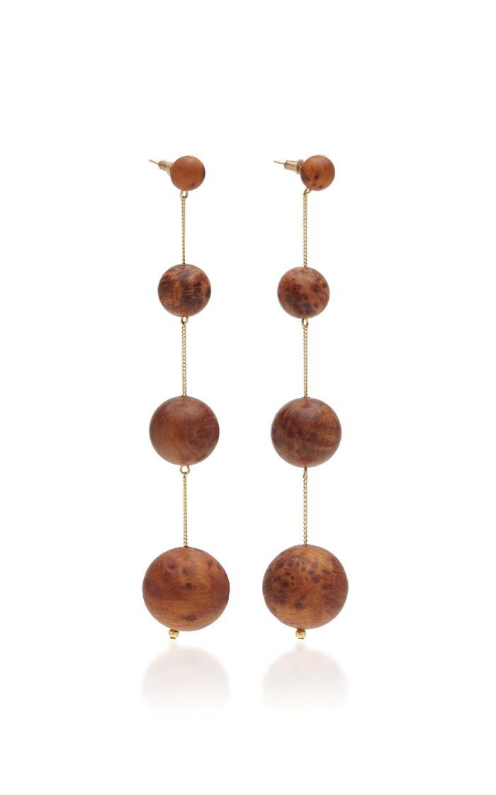 Candace Gold-Tone And Wood Earrings