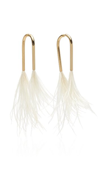Meta Gold-Tone And Feather Earrings