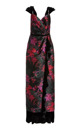 Exclusive Velvet-Trimmed Silk-Blend Brocade Gown