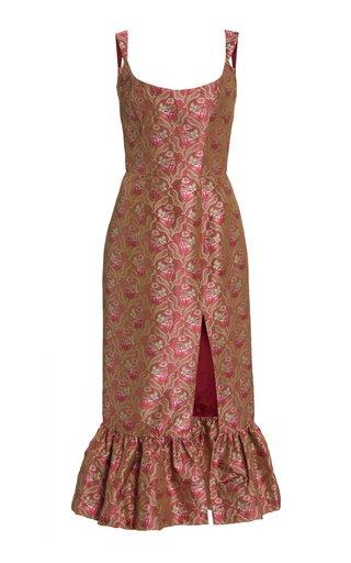 Exclusive Gertrude Silk Brocade Midi Dress