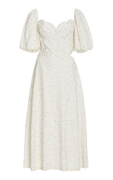 Exclusive Greta Cutout Beaded Cotton Dress