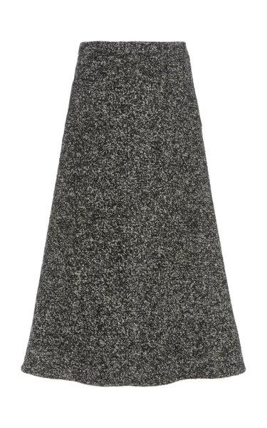 Sibyl Wool-Blend Bouclé Tweed A-Line Midi Skirt