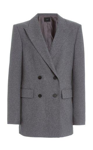 Jorgan Wool-Silk Flannel Double-Breasted Blazer